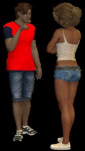 girl and guy chatting