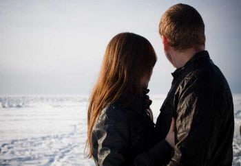couple looks ahead