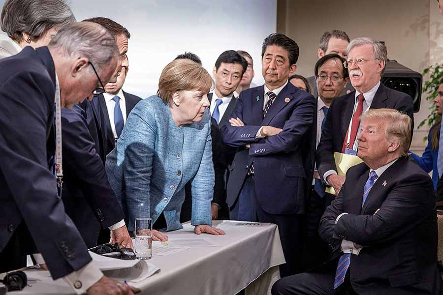 trump merkel picture at G7