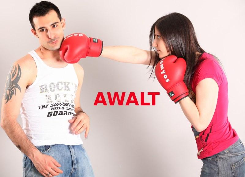 woman attack man: AWALT