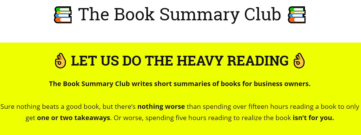 the book summary  club website