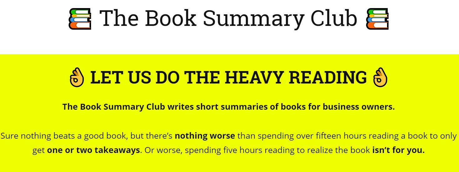 the book summary  club website