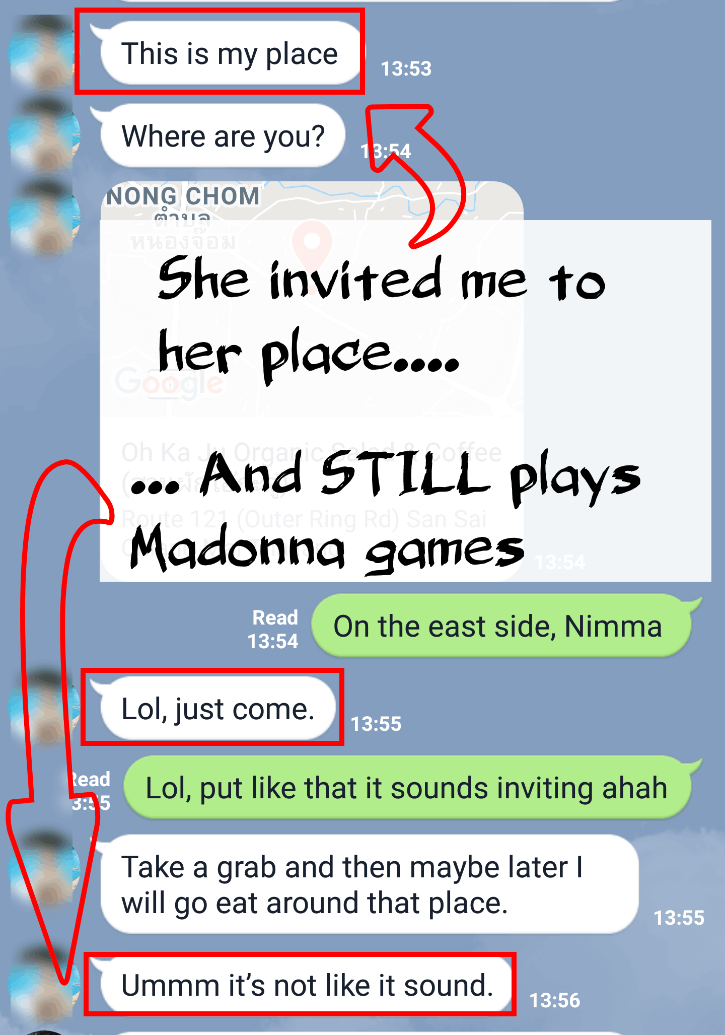 text example of madonna game women play