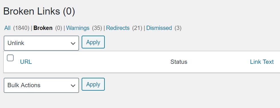 screenshot from broken link checker plugin