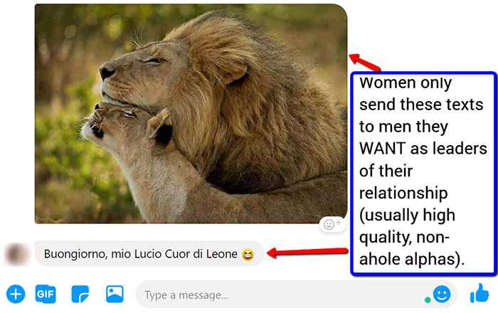 FB texts to alpha male leader