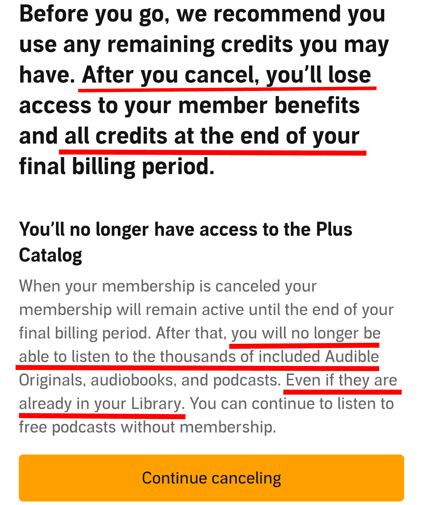amazon audible drawback