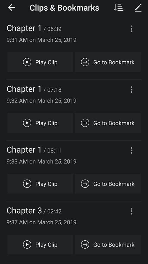 Amazon audible bookmarks