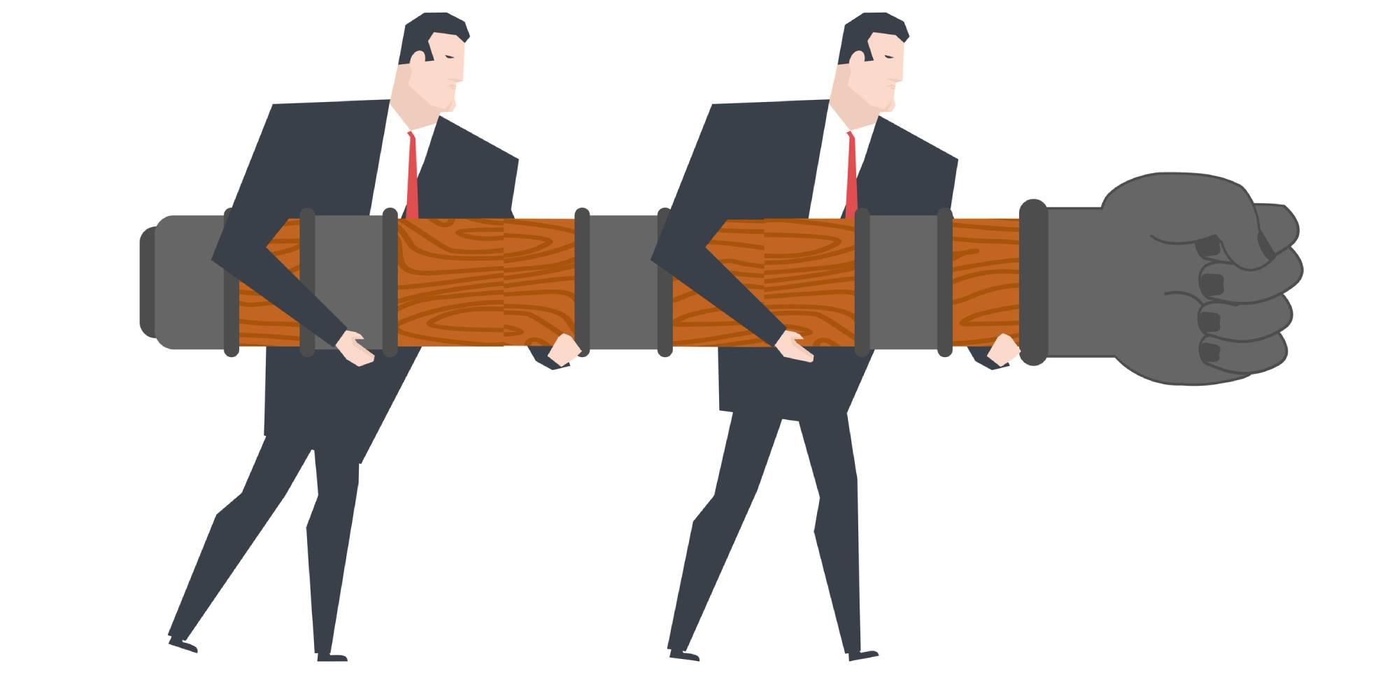 businessmen holding a battering ram
