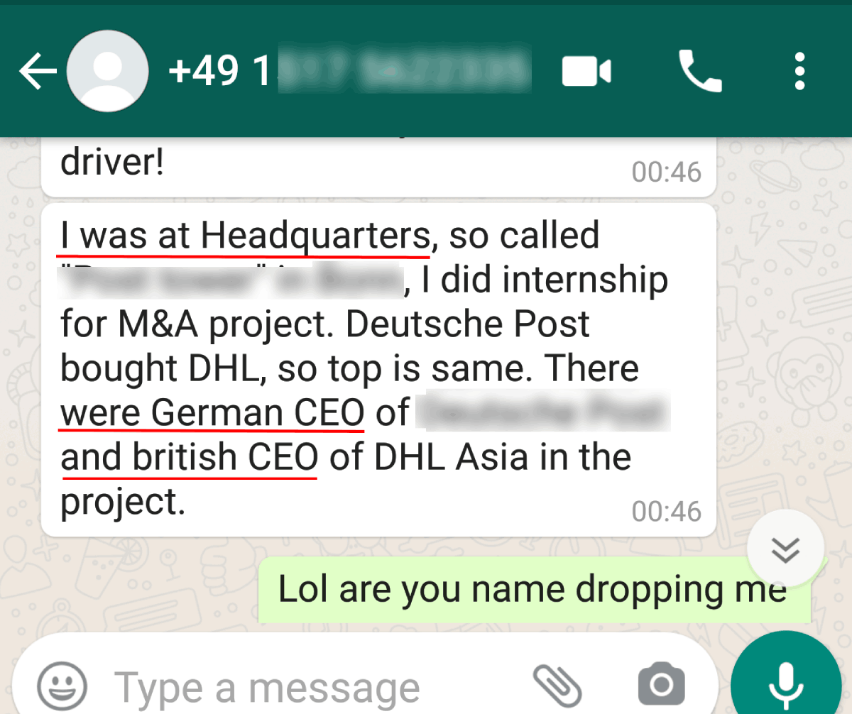 text example of career woman mistake