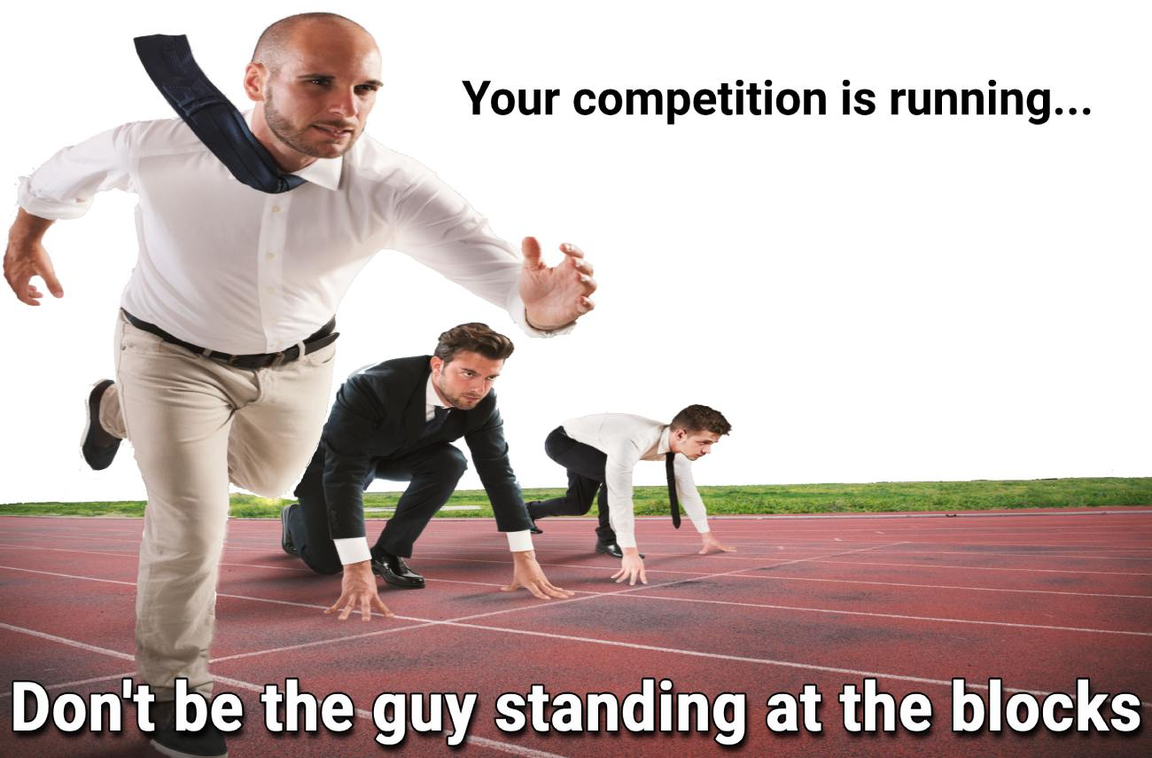businessman beating competition