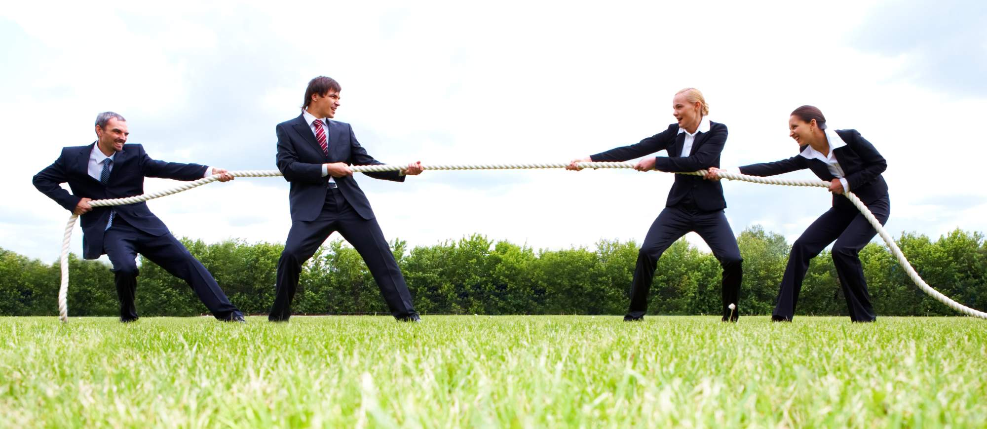 conflict of interest represented with business people tug of war