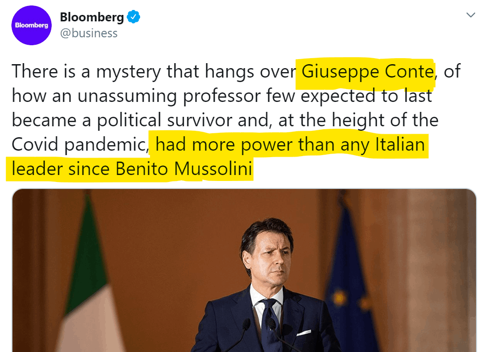 conte more powerful than Mussolini