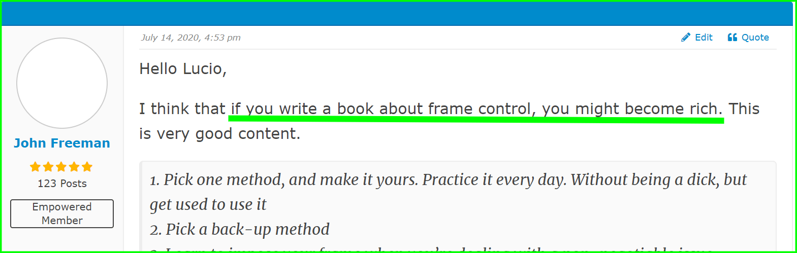 feedback on the best frame control course