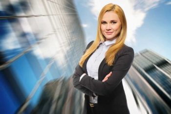 picture of a businesswoman with skyscrapers background
