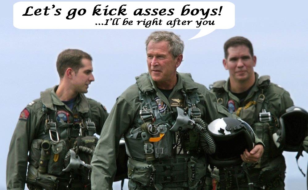 gerorge bush in a flying suit