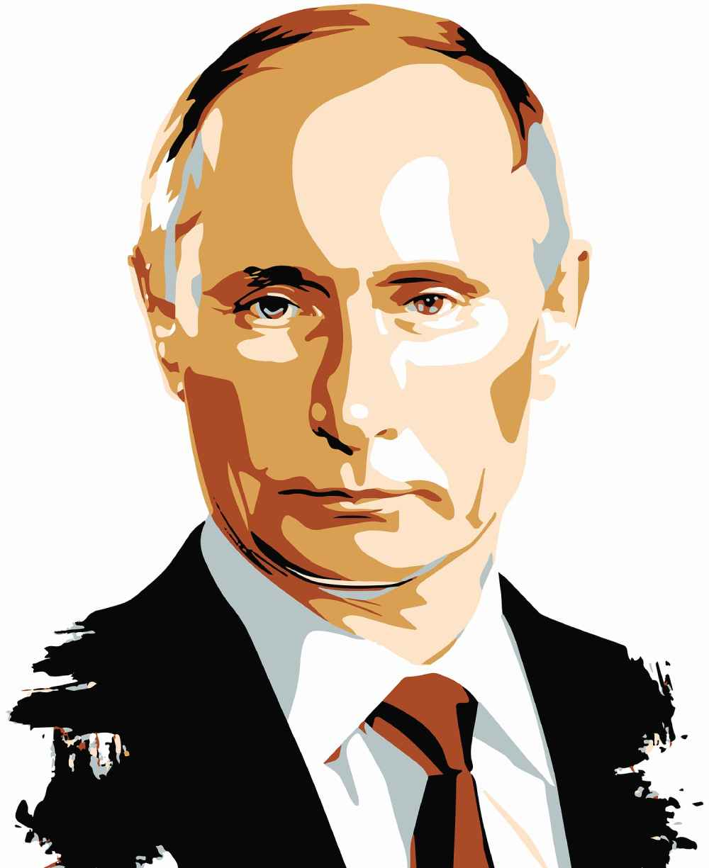 portrait of putin, example of icy man style of dominance