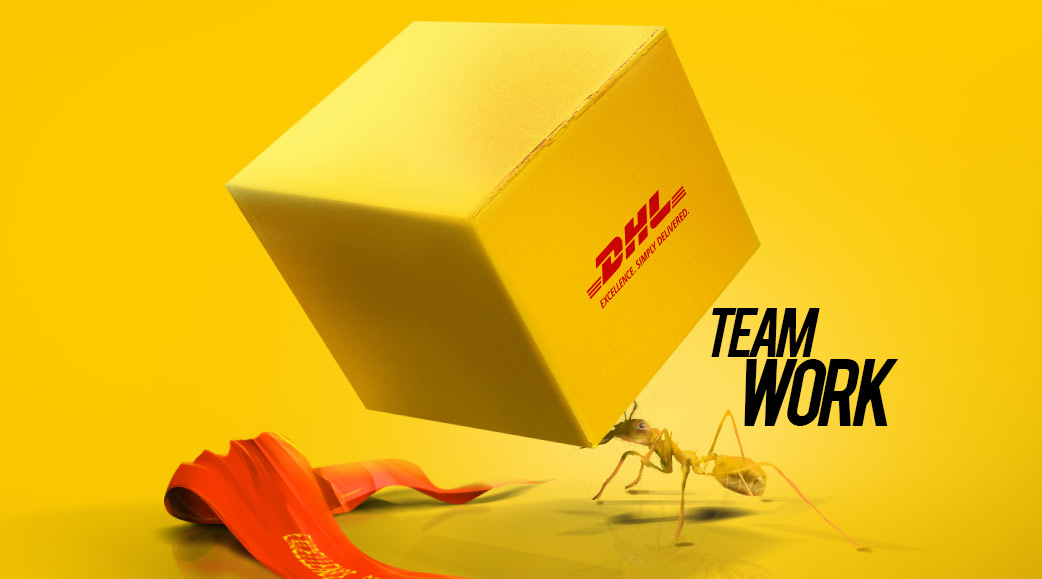 team work ad with an ant