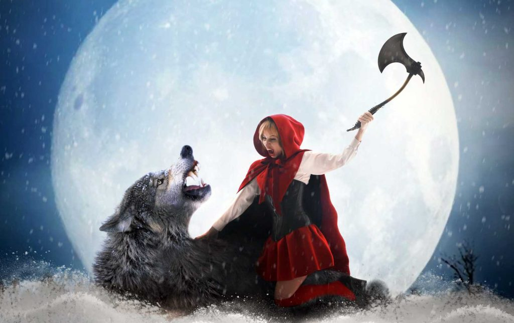 Red Riding Hood attacking the wolf