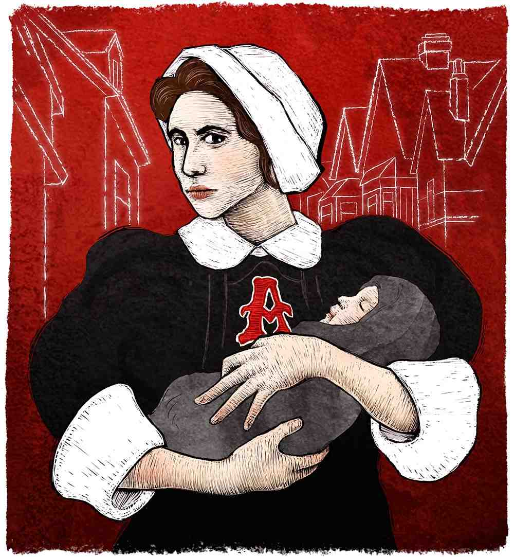 woman with a scarlet letter