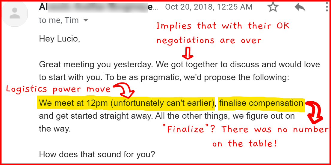 Example of manipulative negotiation technique in email