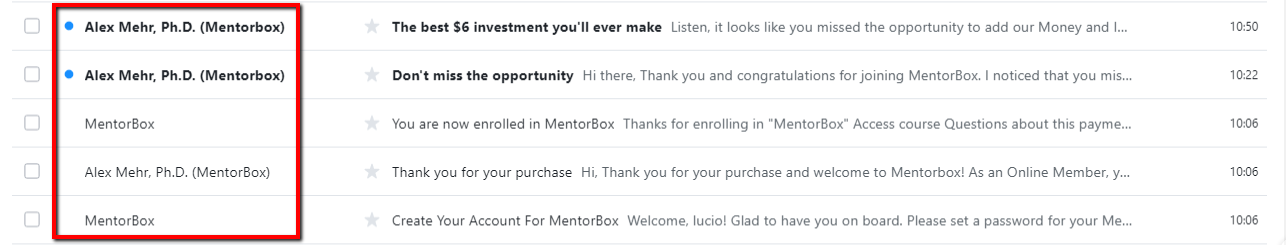 mentorbox emailng system