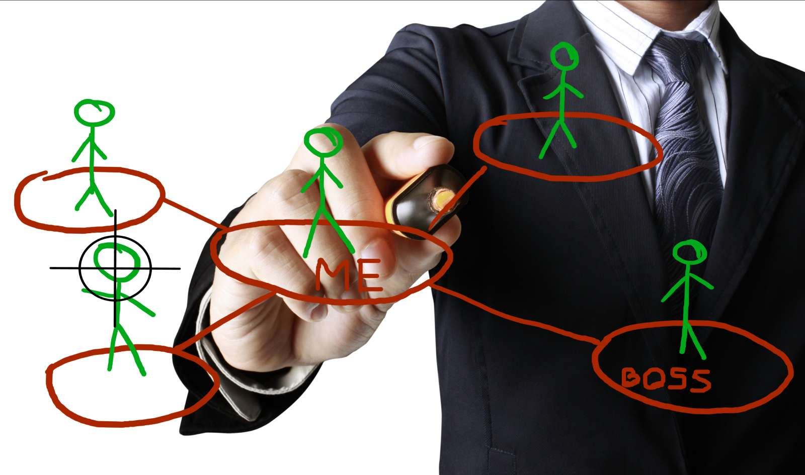 man drawing org chart for effectve work strategies