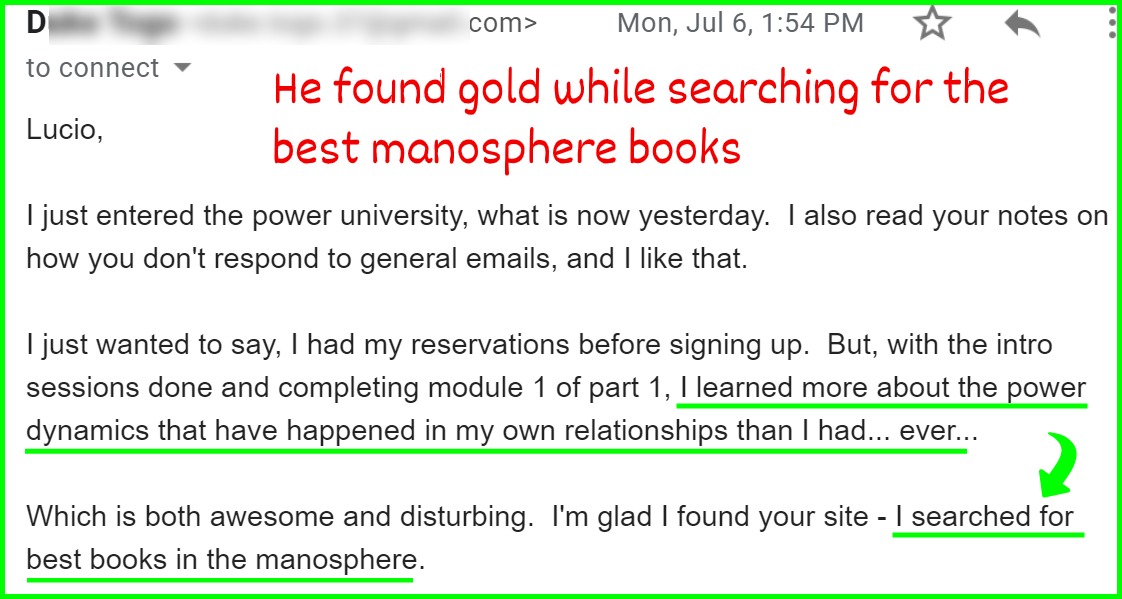 "a testimonial from a man who searched for ""best manopshere books"""