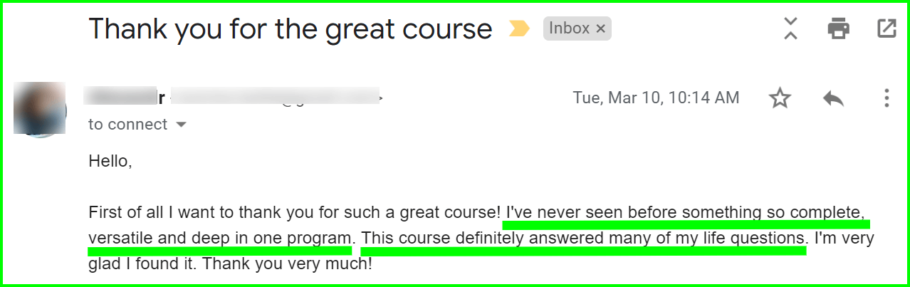 an email feedback for power university
