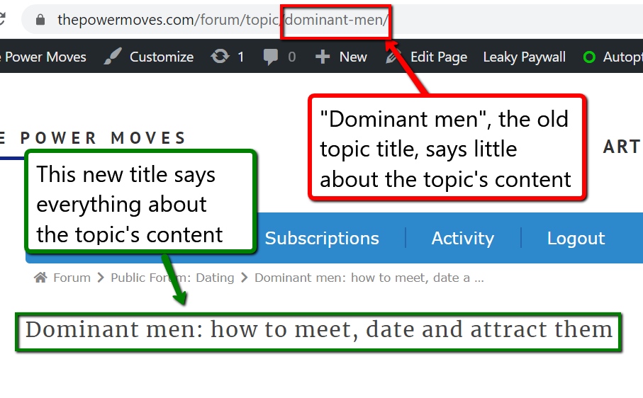 example of proper forums' titles