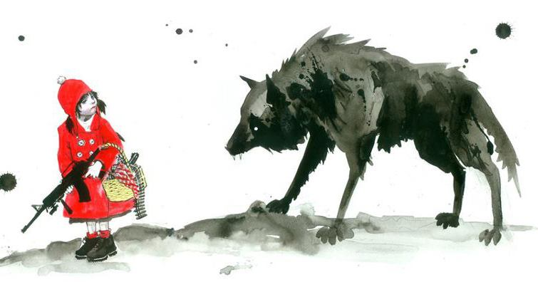 armed little red against wolf