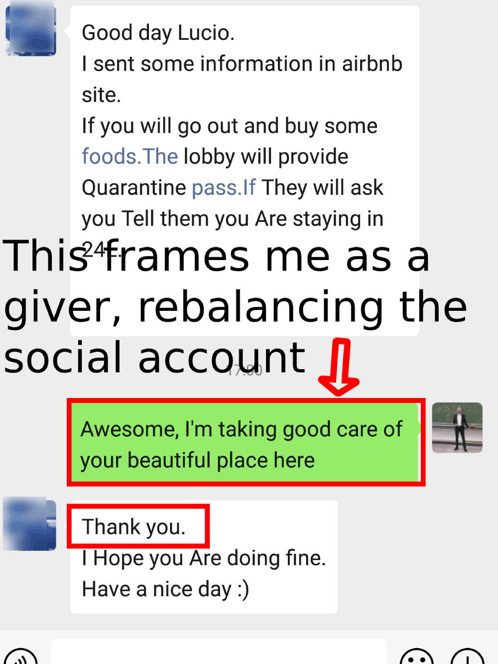 a text example to rebalance the social exchange