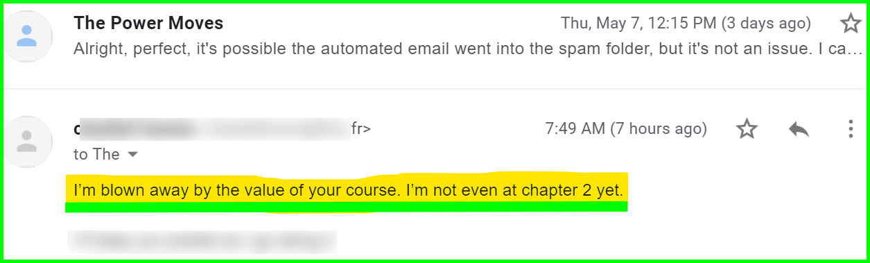 email snapshot of a review for power university