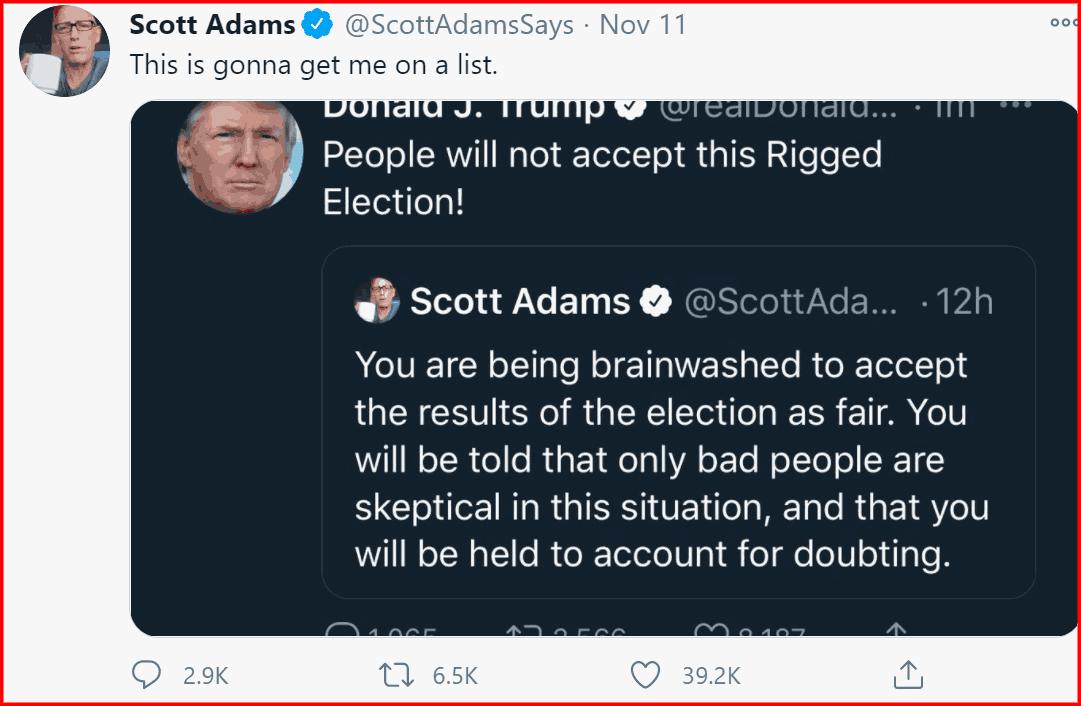 Scott Adams tweet supporting donald trump