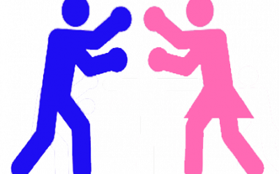 male and female figure boxing
