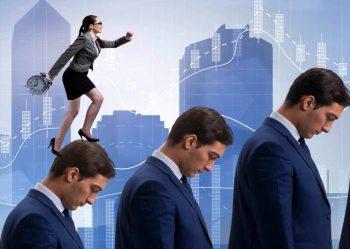 social climber walking upward on people's head