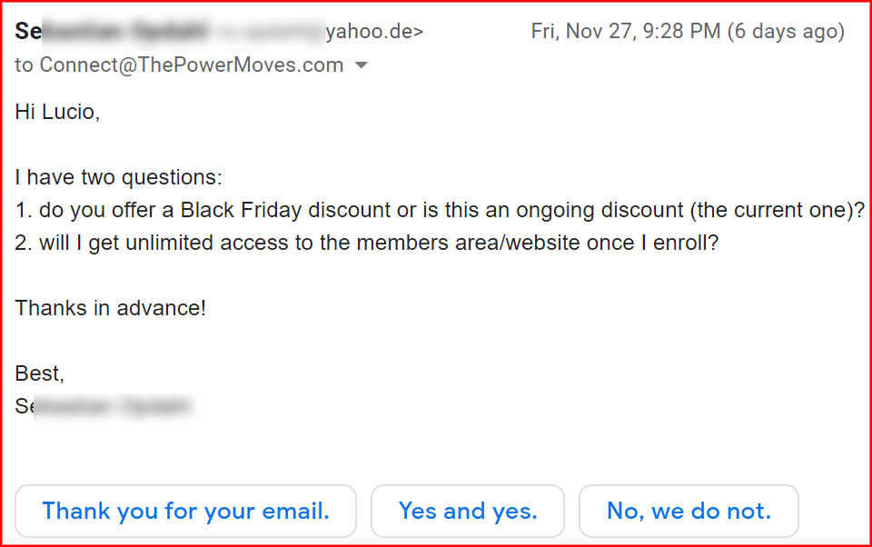 incoming email with question about Power University
