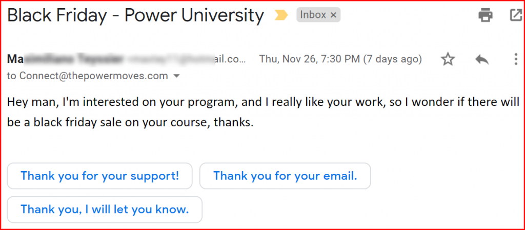 customer asking about black friday offer for power university