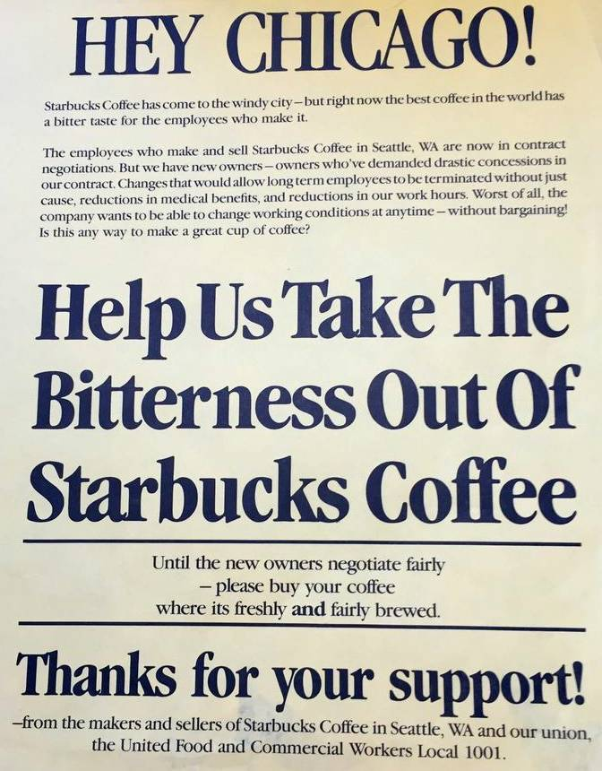 "pamphlet against starbucks titled ""help us take the bitterness out of starbucks coffee"""