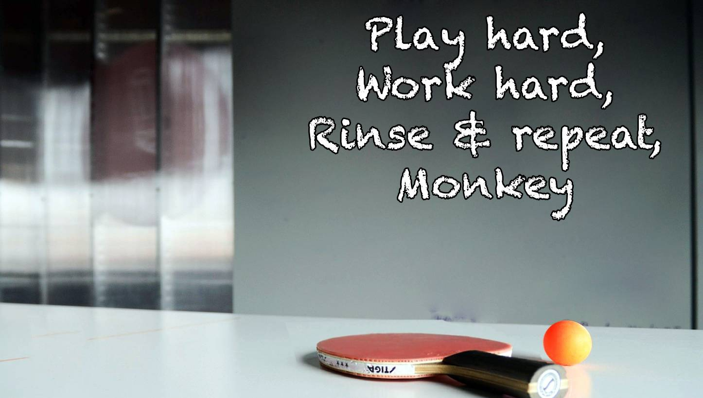 "manipulative startup ""work hard, play harder"" slogan written on whiteboard"
