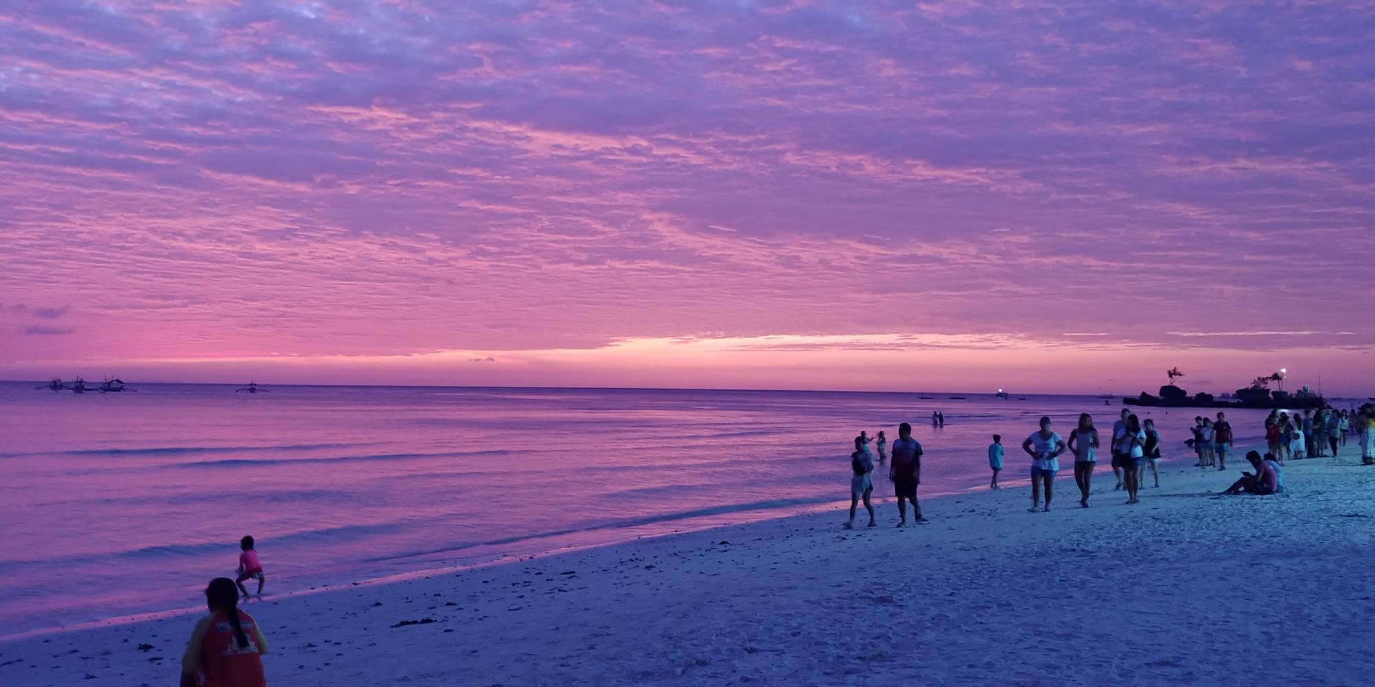 sunset in Boracay white beach