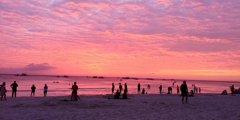 sunset in white beach