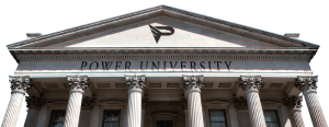 logo of power university, the best course on power