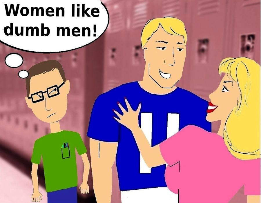 nerd jock and blonde woman