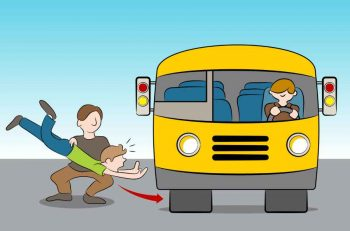 cartoon of a man throwing someone under the bus