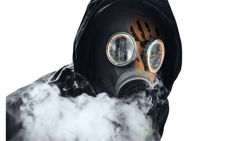 man with gas mask (toxic masculinity)