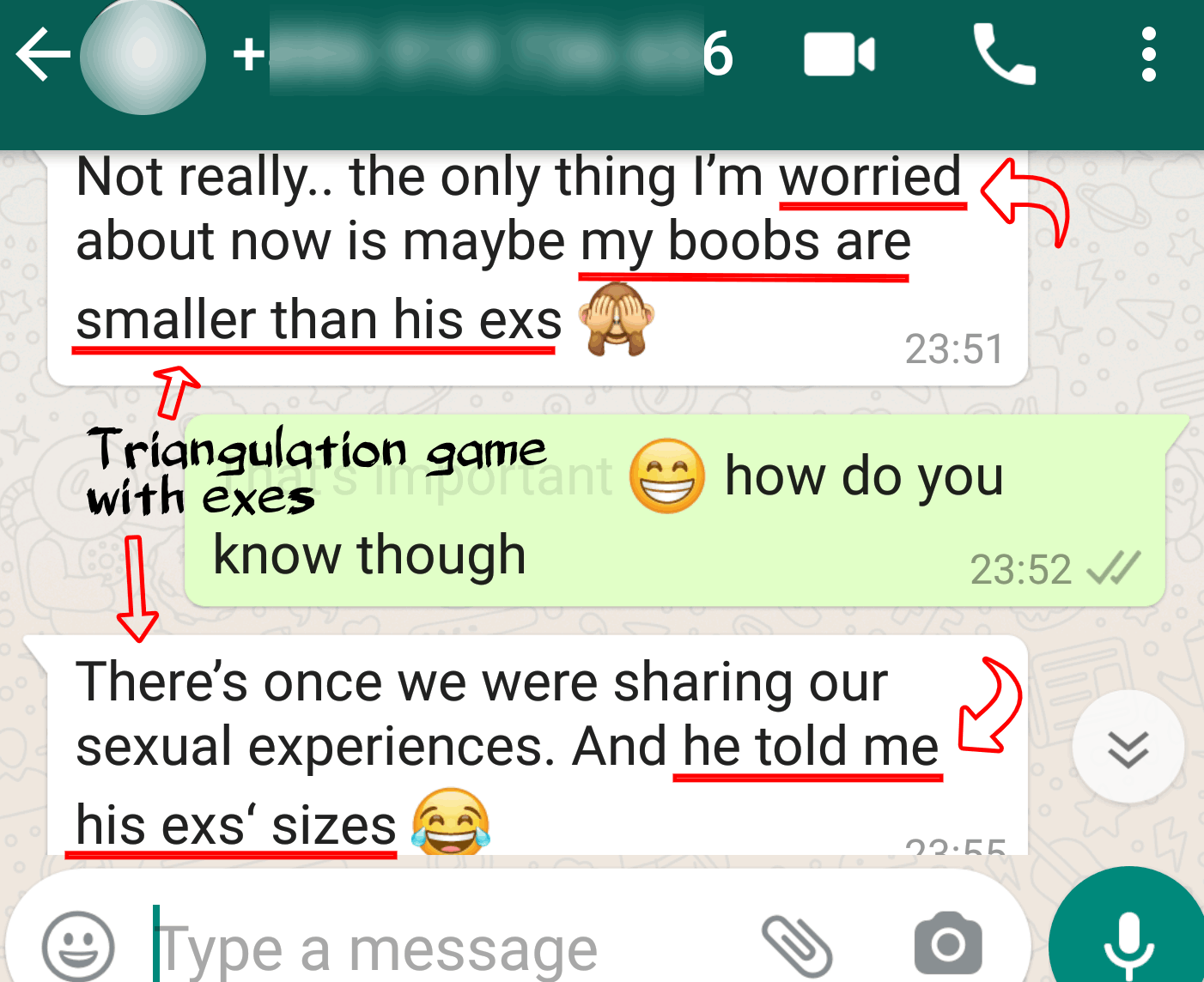 text example of triangulation games men play