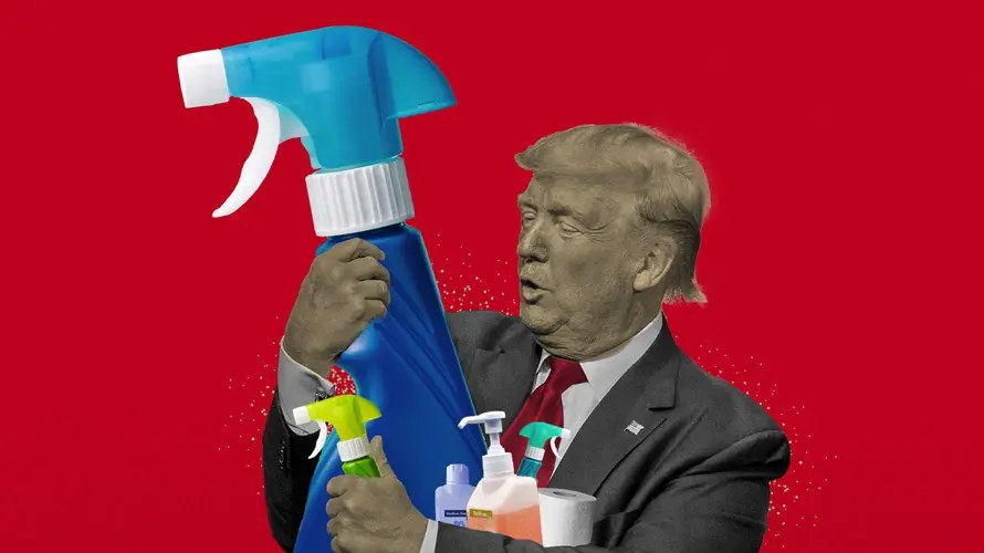 meme of donald trump curing Covid with disinfectant