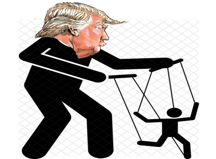 charicature of donald trump as a puppetteer