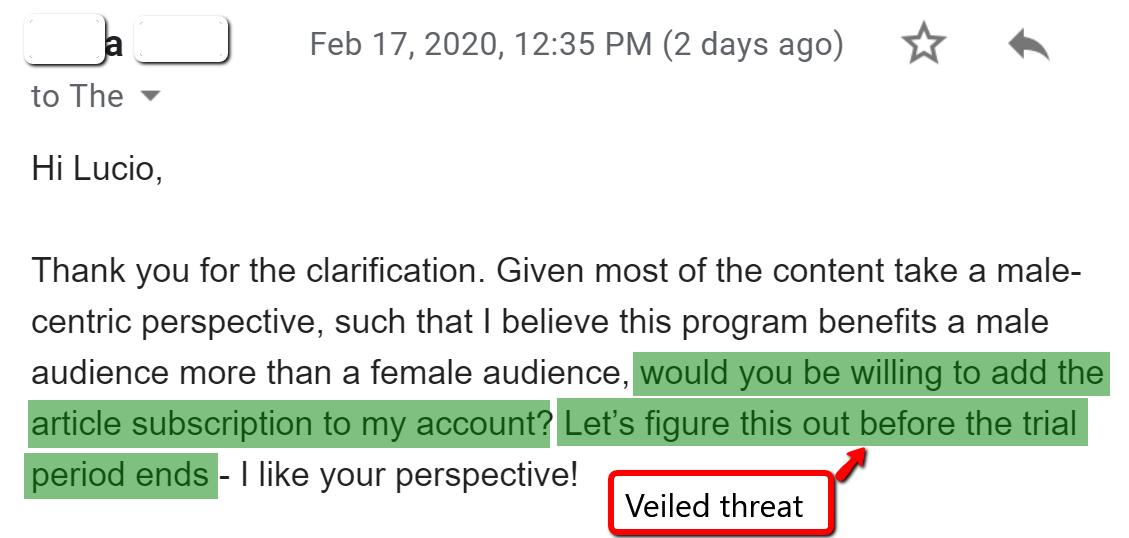 negotiation threat example