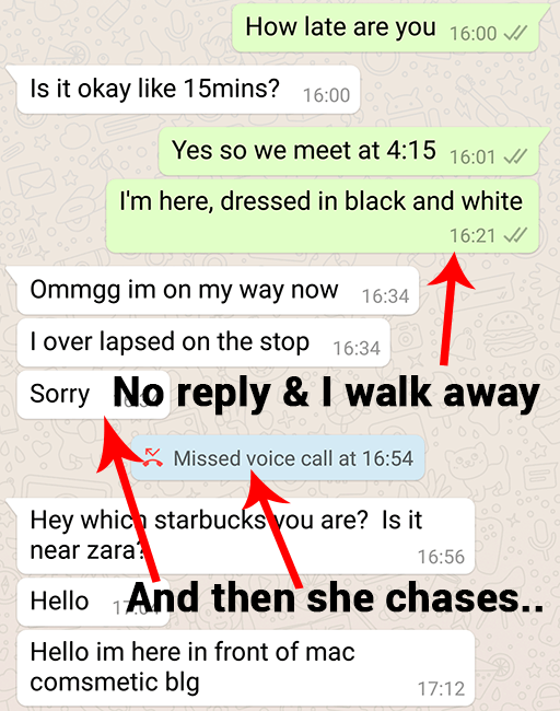text example of late on a date